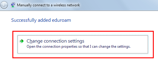 Changing connection settings